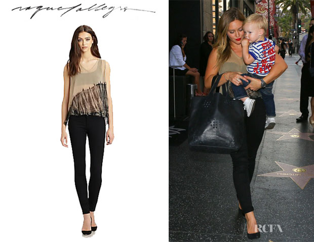 Hilary Duff's Raquel Allegra Sheer Tie-Dyed Silk Blouse
