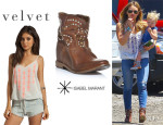 Hilary Duff's Velvet 'Kelsey' Embroidered Cami And Isabel Marant 'Caleen' Studded Boots