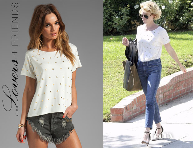 January Jones' Lovers + Friends Kiss Me Studded Top
