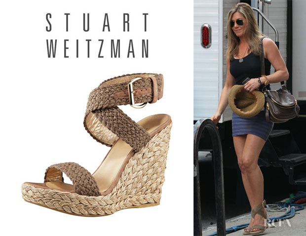 Jennifer Aniston's Stuart Weitzman 'Alex' Crocheted Ankle-Wrap Espadrille