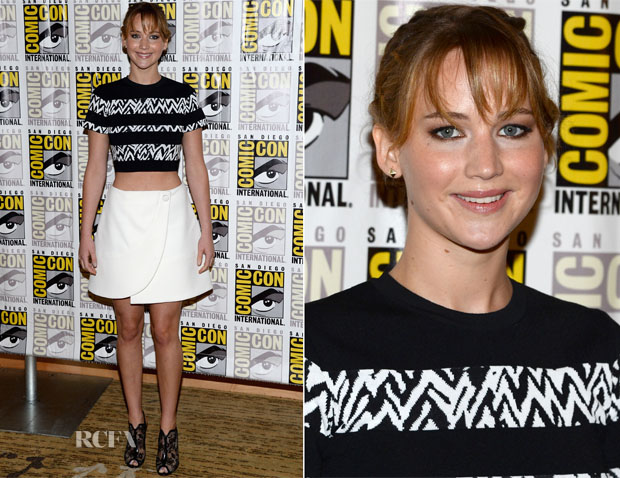 Jennifer Lawrence In Proenza Schouler - 'The Hunger Games Catching Fire' Press Line Comic Con 2013