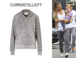Jessica Alba's Current/Elliott Animal Print Hoodie & J Brand Agnes Sweatshirt Pants
