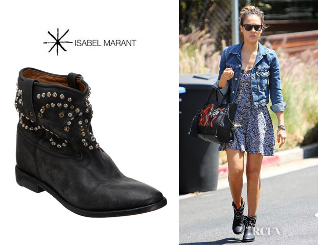 Jessica Alba's Isabel Marant 'Caleen' Studded Boots