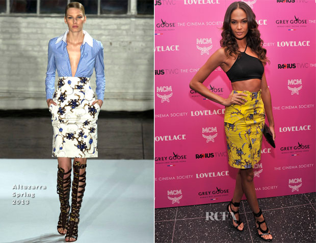 Joan Smalls In Helmut Lang & Altuzarra - 'Lovelace' New York Premiere