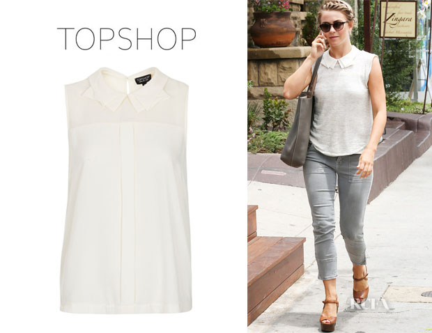 Julianne Hough's Topshop Shell Top With Collar Detail