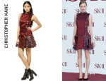 Kate Bosworth's Christopher Kane Feather And Silk Satin Dress