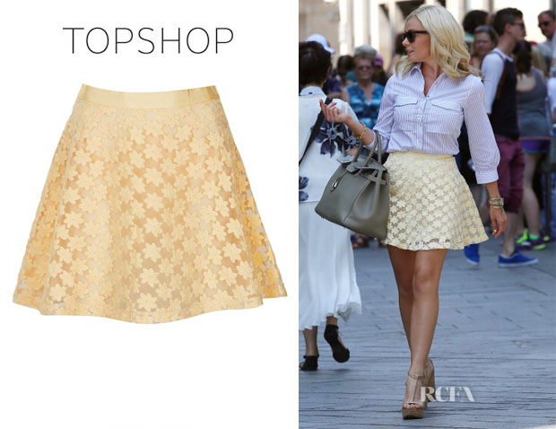 Katherine Jenkins' Topshop Embroidered flower skater Skirt