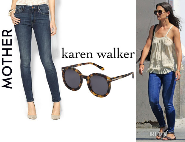 Katie Holmes' Mother 'Looker' Jeans And Karen Walker 'Super Duper Strength' Sunglasses