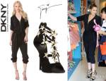 Khloe Kardashian's DKNY V Neck Jumpsuit And Giuseppe Zanotti Star-Embellished Suede Sandals