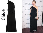 Kirsten Dunst's Chloé One-Shoulder Embellished Crepe Gown