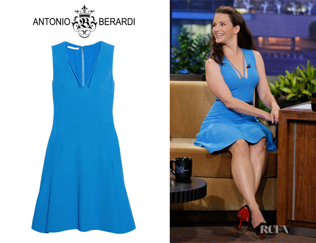 Kristin Davis' Antonio Berardi Flared Crepe Dress