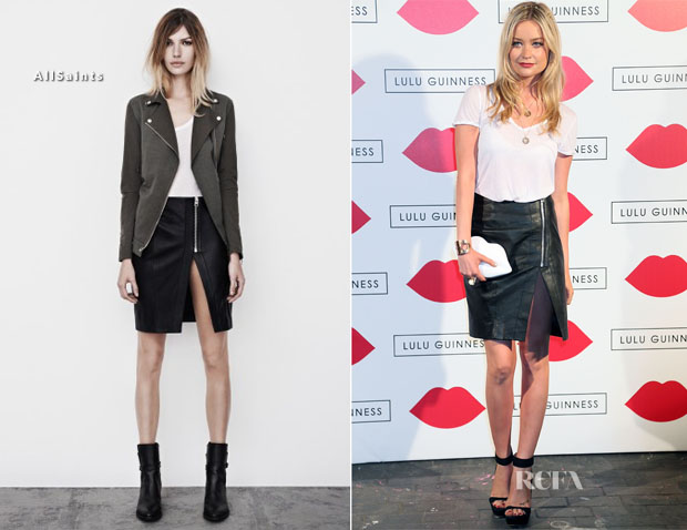 Laura Whitmore In AllSaints - The Lulu Guinness Paint Project