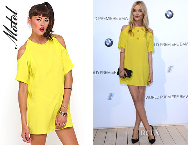 Laura Whitmore's Motel Yellow Cold shoulder dress