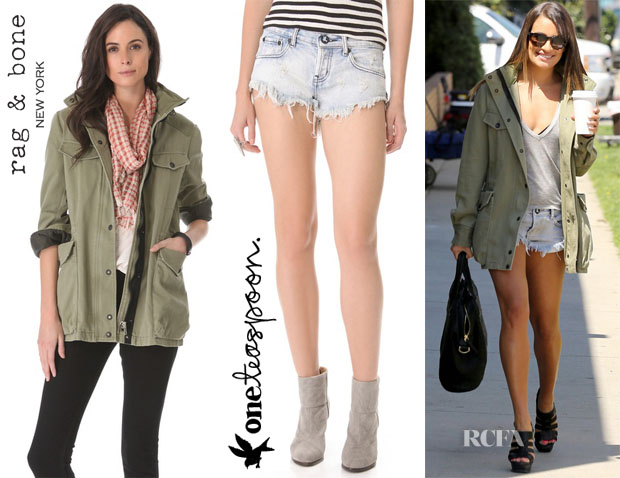 Lea Michele's Rag & Bone M15 Moto Jacket & One Teaspoon Bonitas Shorts