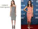 Louise Roe's Robert Rodriguez Graphic Stripe Strapless Dress