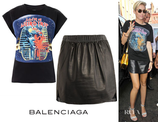 Miley Cyrus' Balenciaga Sphinx Print T-Shirt & Leather Skirt