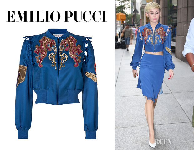 Miley Cyrus' Emilio Pucci Embroidered Silk Bomber Jacket