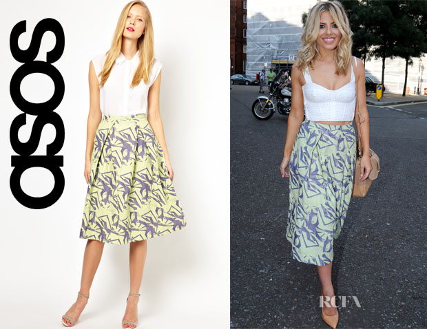 Mollie King's ASOS Midi Skirt in Abstract Jacquard
