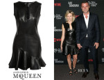 Naomi Watts' Alexander McQueen Leather Flounce-Hem Mini Dress