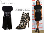 Naomie Harris' Marios Schwab Gathered Jersey Dress And Jimmy Choo 'Fauna' Booties