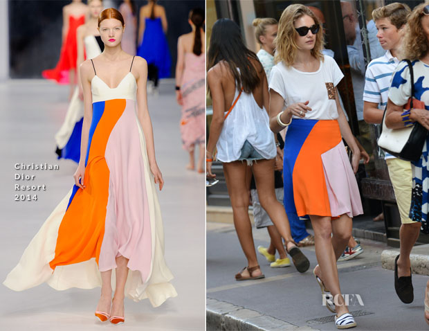 Natalia Vodianova In Christian Dior - Out In Saint Tropez - Red ... 97a8ad00e7d