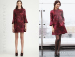 Olga Kurylenko's Stella McCartney Trumpet-Sleeve Flower Jacquard Dress