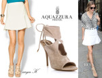 Olivia Palermo's Aryn K. High Waisted Skirt & Aquazzura 'Sexy Thing' Cutout Booties