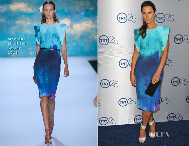 Rhona Mitra In Monique Lhuillier - TNT's 25th Anniversary Party