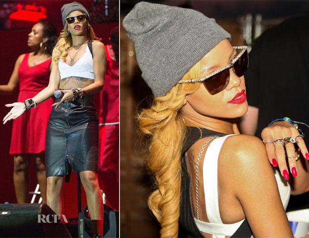 Rihanna In Gareth Pugh - Yahoo! Wireless Festival Day 3
