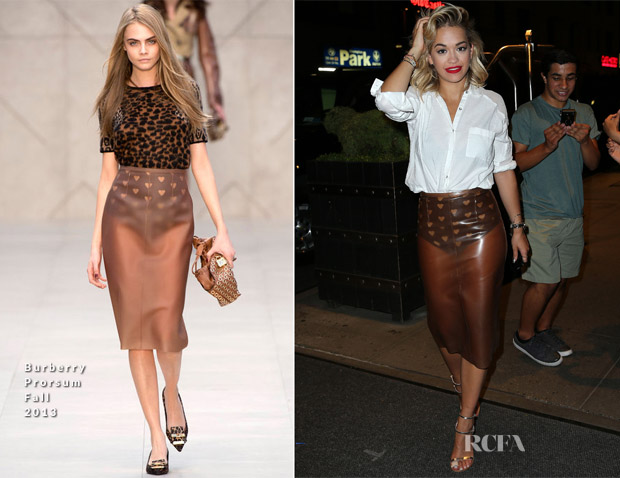 Rita Ora In Burberry Prorsum - Out In New York City