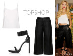 Rita Ora's Topshop Cropped Soft Cami, Topshop Boutique Wide Leather Culottes And Topshop UNIQUE Hi Strappy Sandals