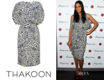 Rosario Dawson's Thakoon Navy Floral Side Draped Dress
