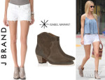 Rosie Huntington-Whiteley's J Brand Dotted Eyelet Cutoff Shorts And Isabel Marant 'Dicker' Ankle Boots