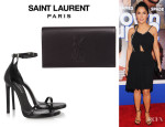 Salma Hayek's Saint Laurent 'Belle de Jour' Clutch And Saint Laurent Leather Sandals