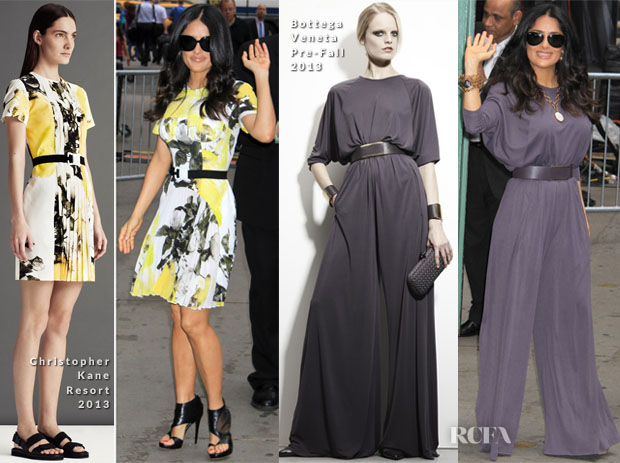 Salma Hayek In Christopher Kane & Bottega Veneta - 'Good Morning America'