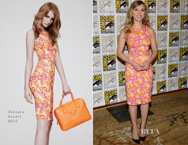 Scarlett Johansson In Versace -  'Captain America The Winter Soldier' Press Line Comic Con 2013