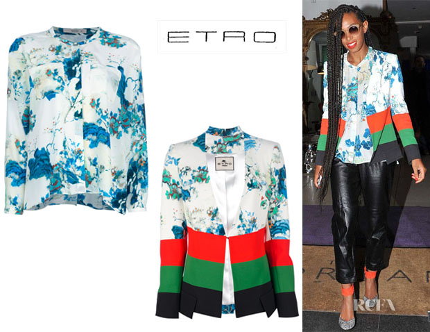 Solange Knowles' Etro Flower Print Shirt And Etro Printed Silk Jacket