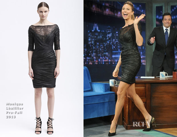 Stacy Keibler In Monique Lhuillier - 'Late Night with Jimmy Fallon'