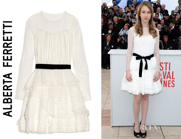 Taissa Farmiga Alberta Ferretti Tiered silk-georgette, cotton-lace and tulle dress