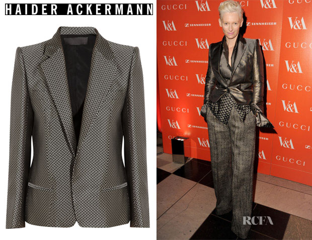Tilda Swinton's Haider Ackermann Silk-blend herringbone jacquard jacket