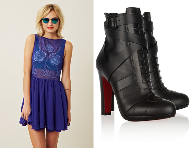 37bead897d13 Bless ed are the Meek  Etheral  Dress – Planet Blue Christian Louboutin   Lamu  Booties – Net-A-Porter.com