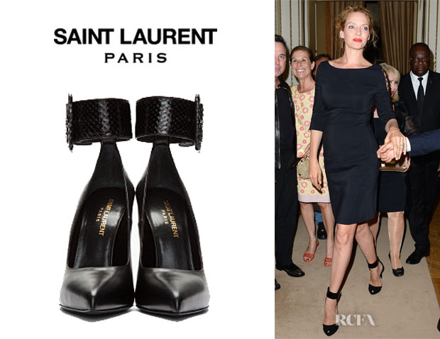 Uma Thurman's Saint Laurent Ankle Strap Pumps