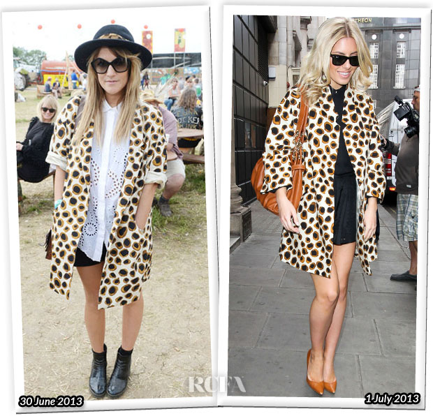 Who Wore Jaeger Animal Print Coat Better Caroline Flack or Mollie King