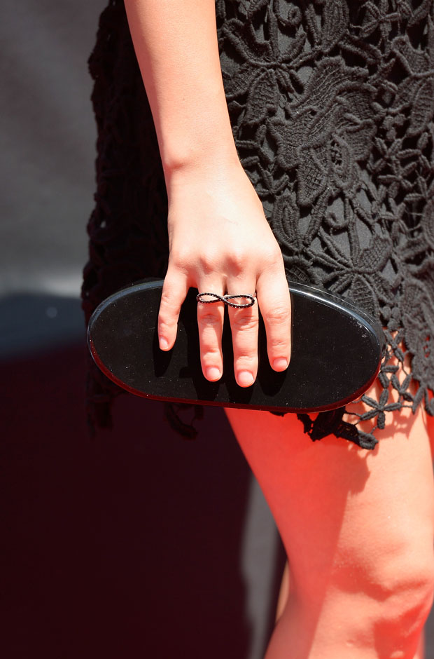 Lucy Hale's Edie Parker clutch and Graziela Gems ring