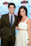 Darren Criss in Emporio Armani and Lucy Hale in Houghton