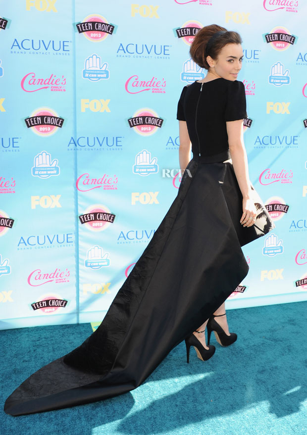 Lily Collins in Fausto Puglisi