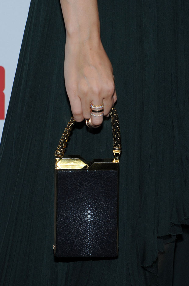 Zhang Ziyi's J. Mendel 'Moonlight' minaudière and Repossi rings