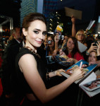 Lily Collins in Paper London and Halston Heritage