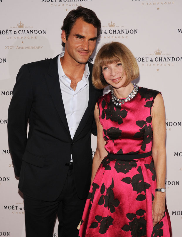 Anna Wintour wearing a Lanvin rose cloque dress