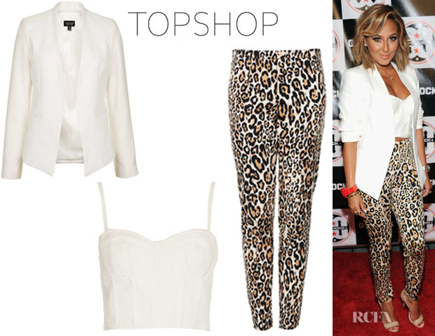 Adrienne Bailon's Topshop Structured Corset, Topshop Textured Panel Blazer And Topshop Animal Print Skinny Trousers1